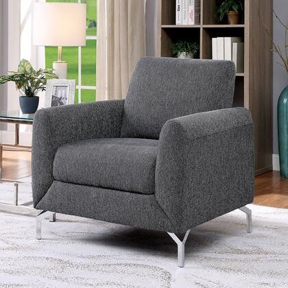 Lauritz Collection CM6088GY-CH 31 Chair with Rounded Padded Arms  Metal Feet and High-Density Foam Cushions in