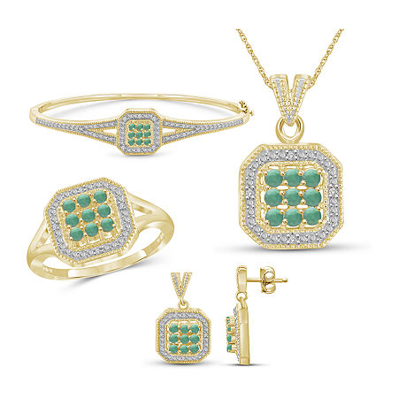 1/7 CT. T.W. Genuine Green Emerald 14K Gold Over Silver 4-pc. Jewelry Set, 7 , No Color Family