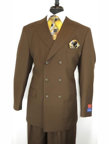 Mens Button Closure Peak Lapel Brown Double Breasted Suit