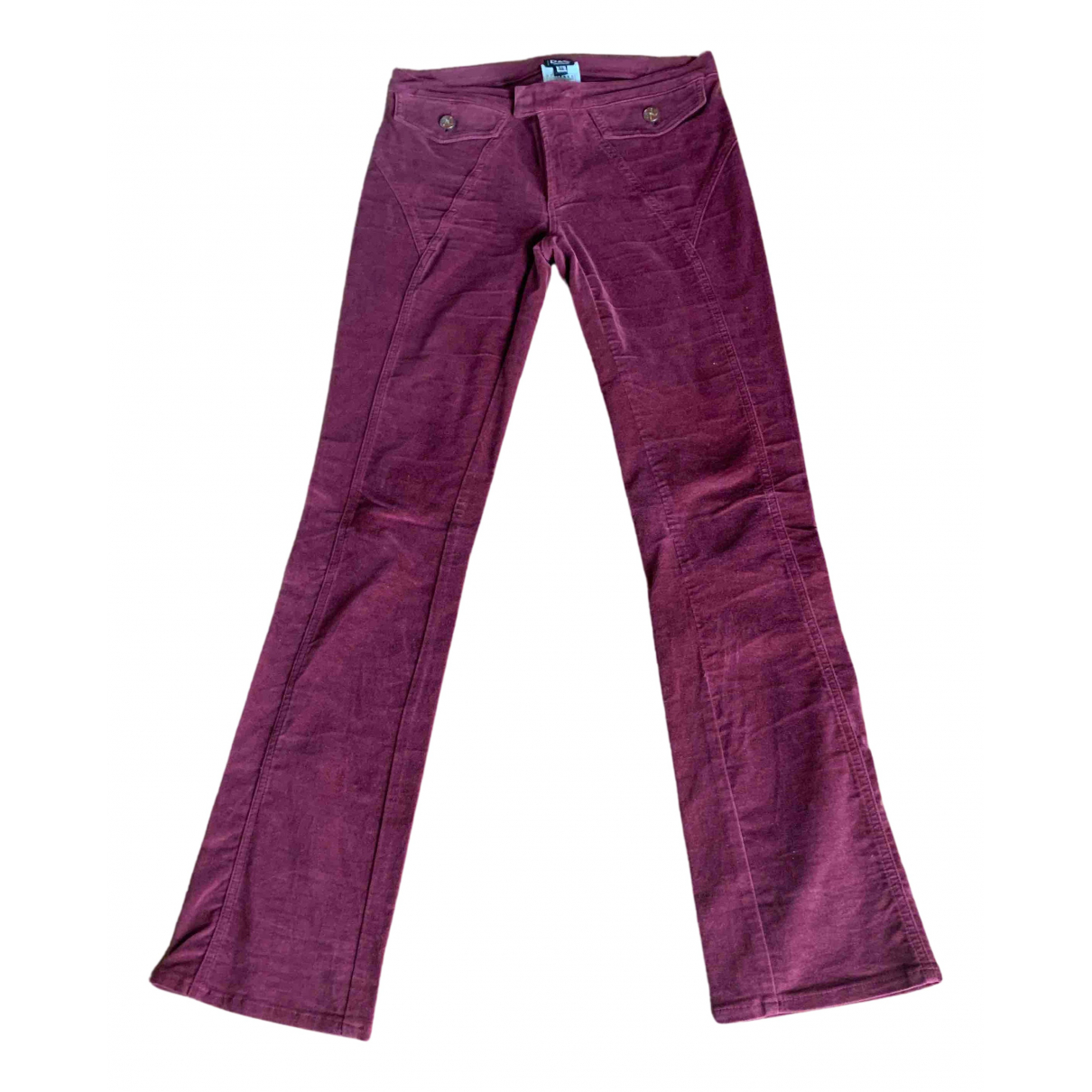 Dolce & Gabbana N Burgundy Cotton Trousers for Women 40 IT