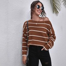 Drop Shoulder Striped Oversized Sweater