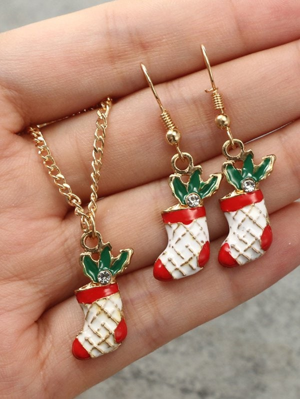 Christmas Stocking Necklace Earrings Set