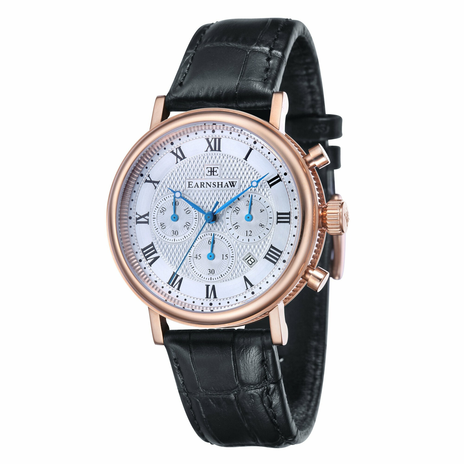 Thomas Earnshaw Mens Beaufort ES-8051-02 Silver Leather Japanese Quartz Dress Watch