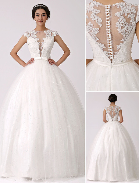 Milanoo Illusion Plunge Neck Princess Wedding Gown with Sheer Lace Back