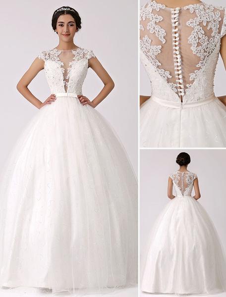 Milanoo Vestido de novia con escote transparente y encaje