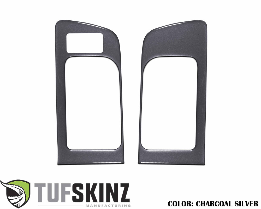 Tufskinz TUN036-CLG-G Front Door Handle Accent Trim with Memory Seat Button Fits 14-up Toyota Tundra 2 Piece Kit Charcoal Silver Similar to Magnetic G
