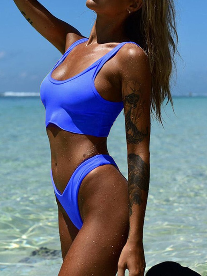 Ericdress Beach Look Plain Tankini Set Stretchy Swimsuit
