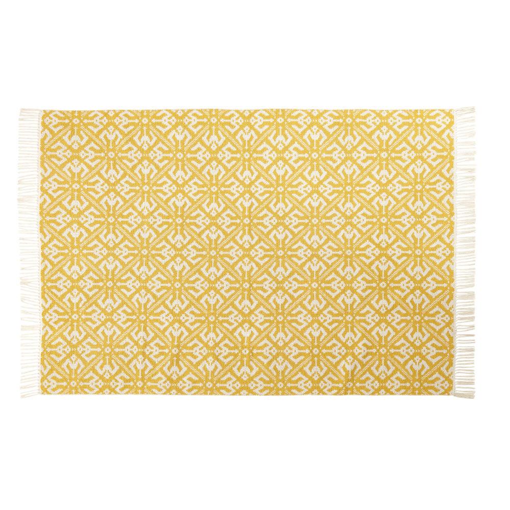 Teppich aus gewebtem Baumwoll-Jacquard mit grafischen Motiven in Gelb und Ecru 140x200