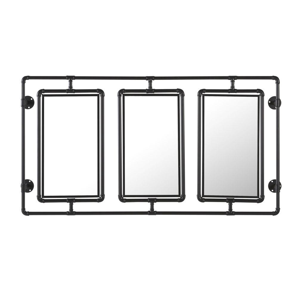 Mobile-Spiegel im Industrial-Stil mit schwarzen Metallrohren 134x70 (x3)