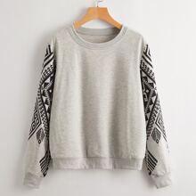 Sweatshirt mit griechischem Muster und rundem Kragen