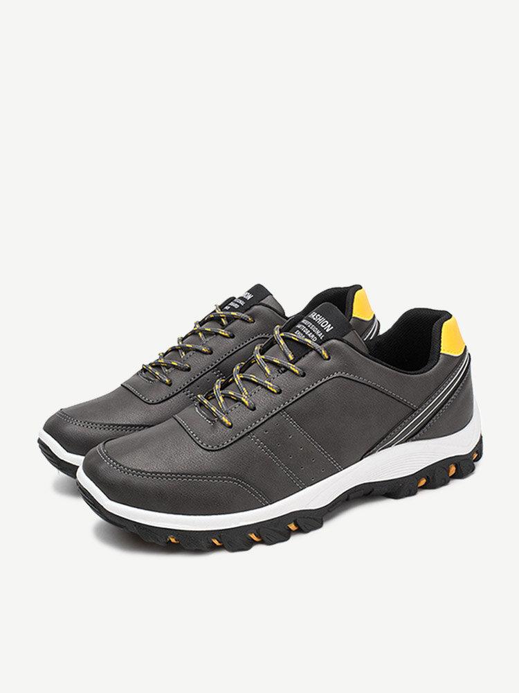 Men Pure Color Light Sneakers Flat Lace Up Sport Casual Shoes
