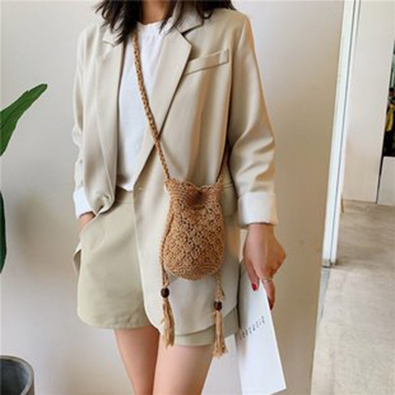 Ericdress Plain Linen Knitted Barrel-Shaped Crossbody Bag