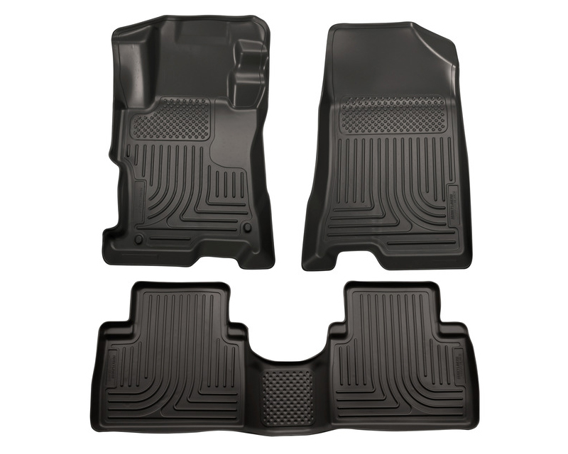 Husky Floor Liners Front & 2nd Row 14-15 Kia Sorento (Footwell Coverage) WeatherBeater-Black
