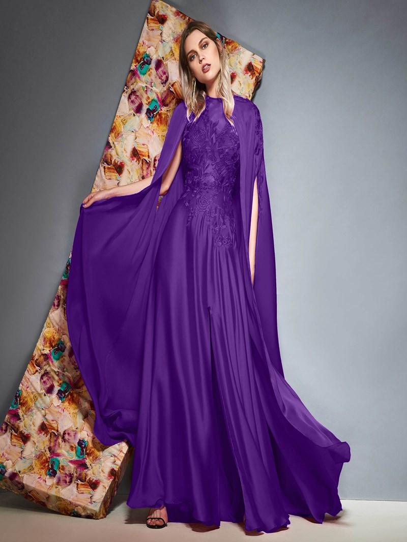 Ericdress Split-Front Appliques Evening Dress with Cape