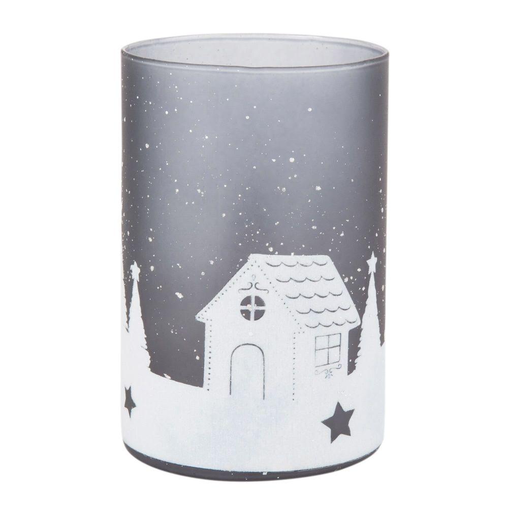 Weihnachtslaempchen aus Glas, bedruckt mit grauem Landschaftsmotiv