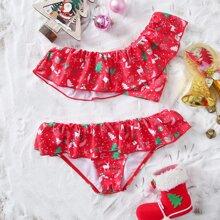 Bikini Badeanzug mit Weihnachten Muster und Rueschen