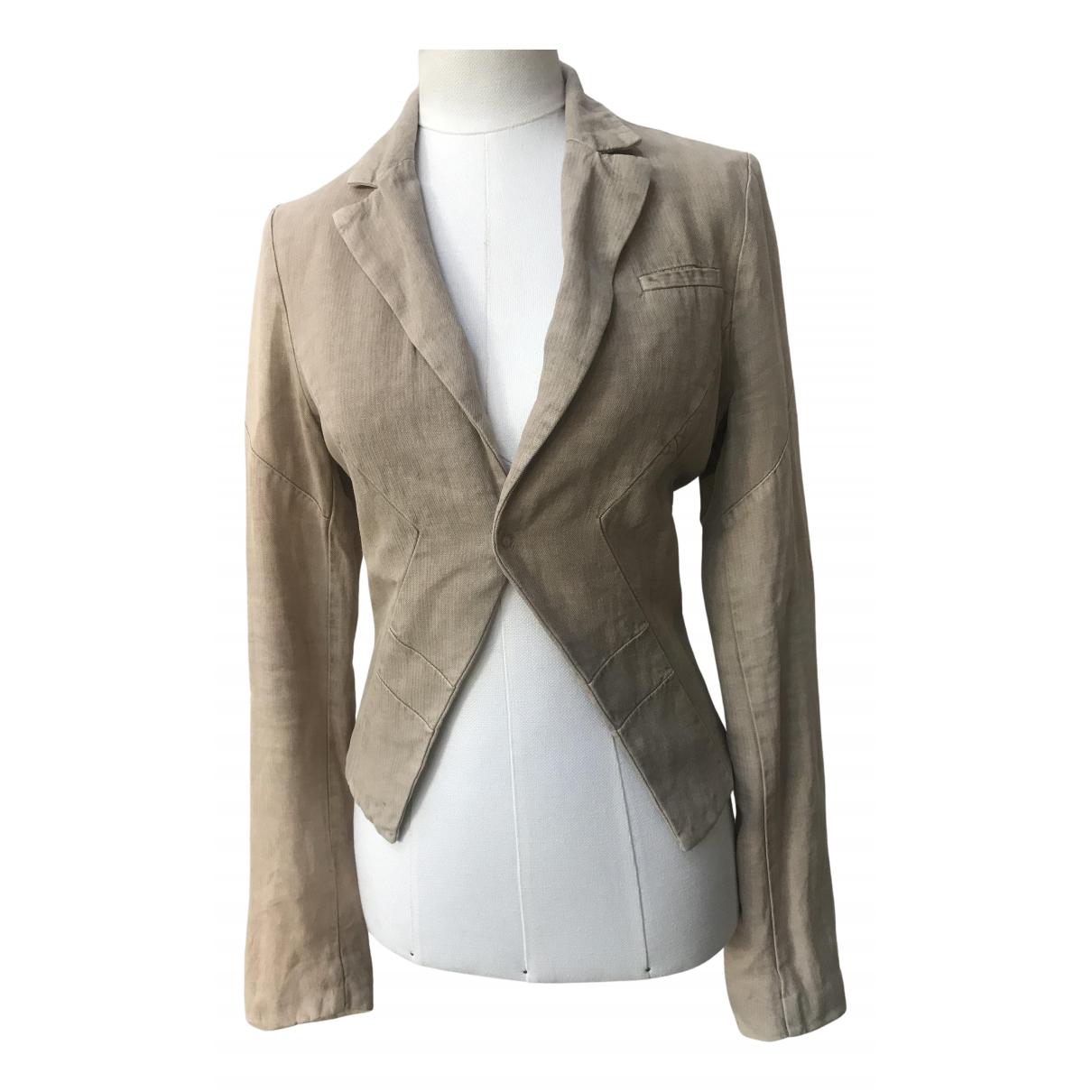 Dondup N Beige Linen jacket for Women 42 IT