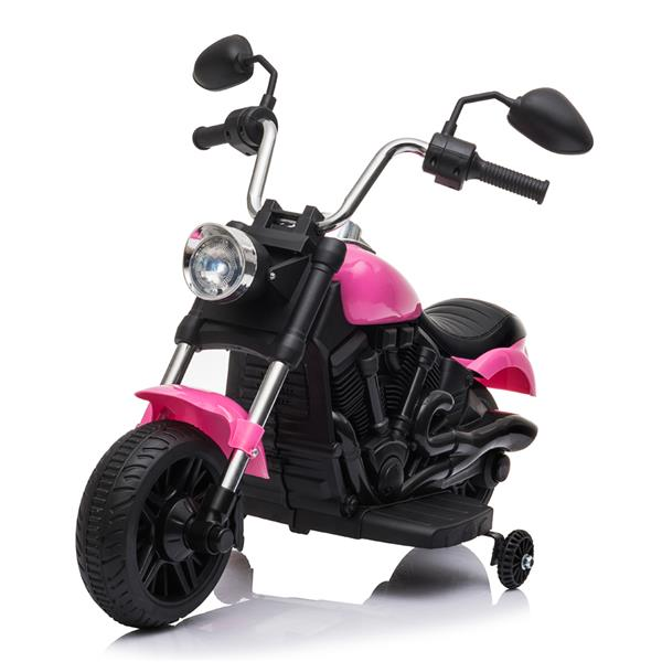 Kids Electric Ride On Motorcycle With Training Wheels 6V - Pink
