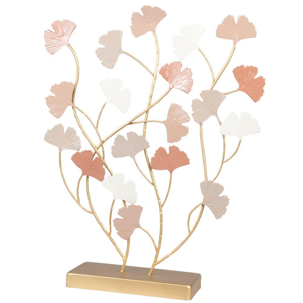 Gingko aus rosa- und goldfarbenem Metall H39