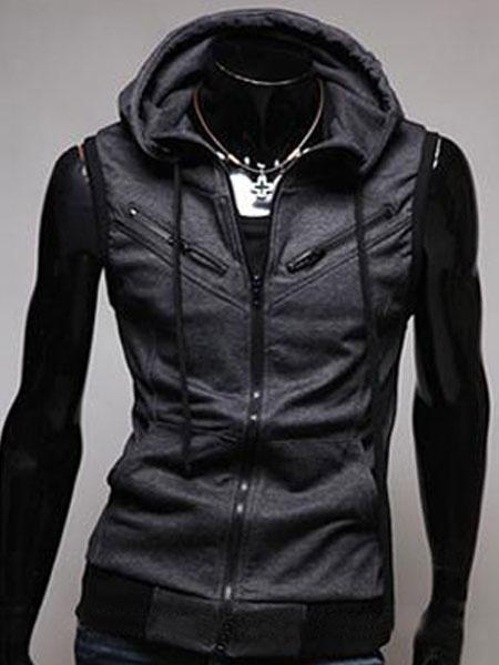 Milanoo Men Sleeveless Hoodie Grey Drawstring Full Zip Hoodie Cotton Sweatshirt