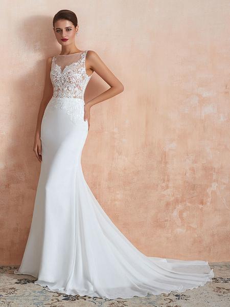 Milanoo Wedding Dress 2020 Mermaid Sleeveless Lace Appliqued Beach Bridal Gowns With Train