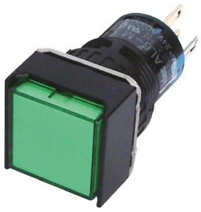Idec Double Pole Double Throw (DPDT) Momentary Green LED Push Button Switch, IP65, 24 x 24mm, Panel Mount, 250V