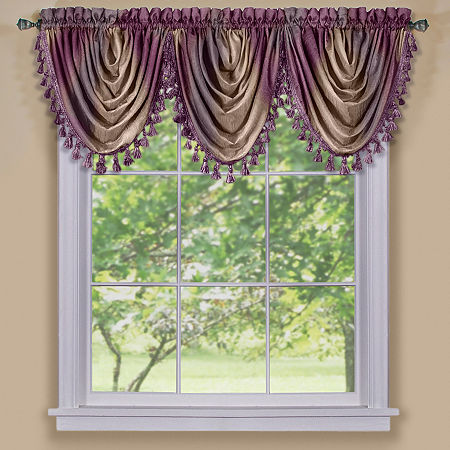 Ombre Rod-Pocket Waterfall Valance, One Size , Purple