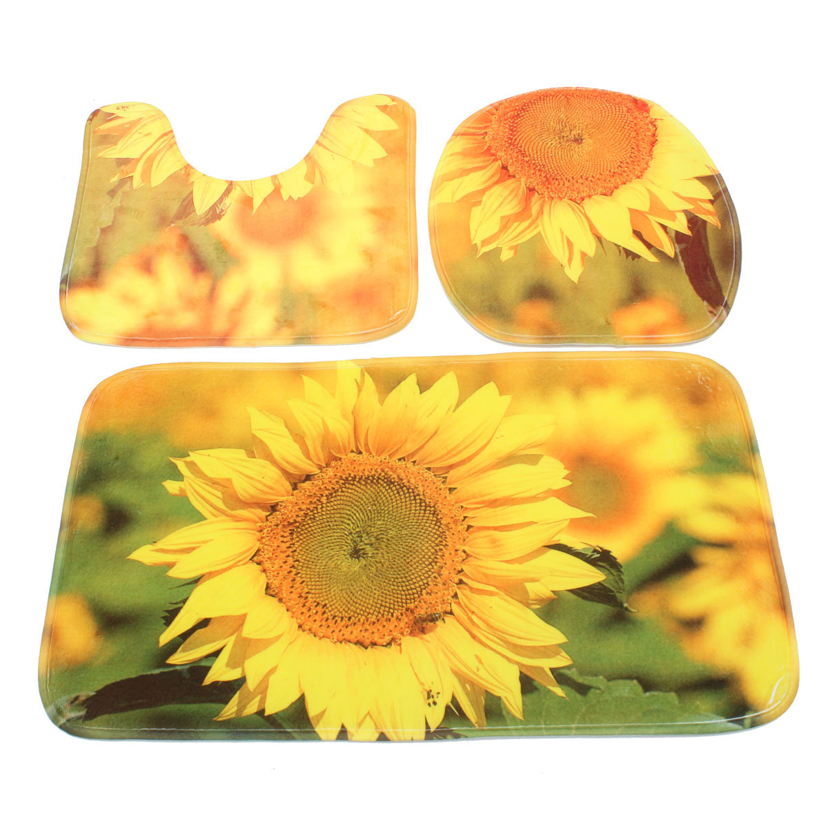 Sunflowers Pattern Bathroom Carpet Pedestal Lid Mat Toilet Cover Rug Set 3Pcs