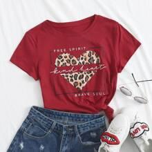 T-Shirt mit Leopard Muster, Herzen & Buchstaben Grafik