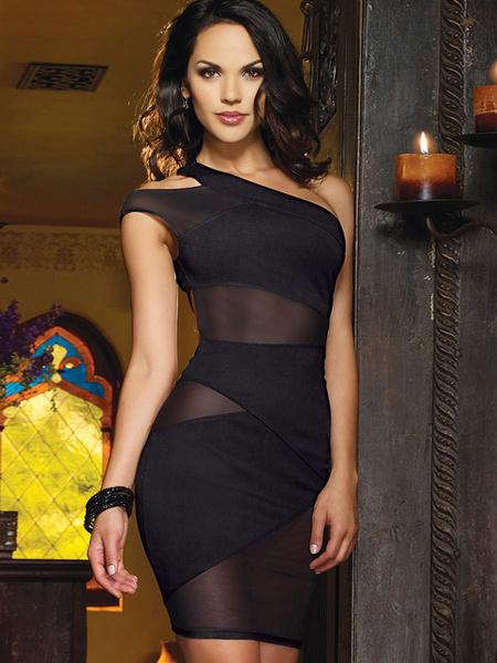Milanoo Vestidos del club de poliester negros con escote a un solo hombro de encaje sin mangas sexy