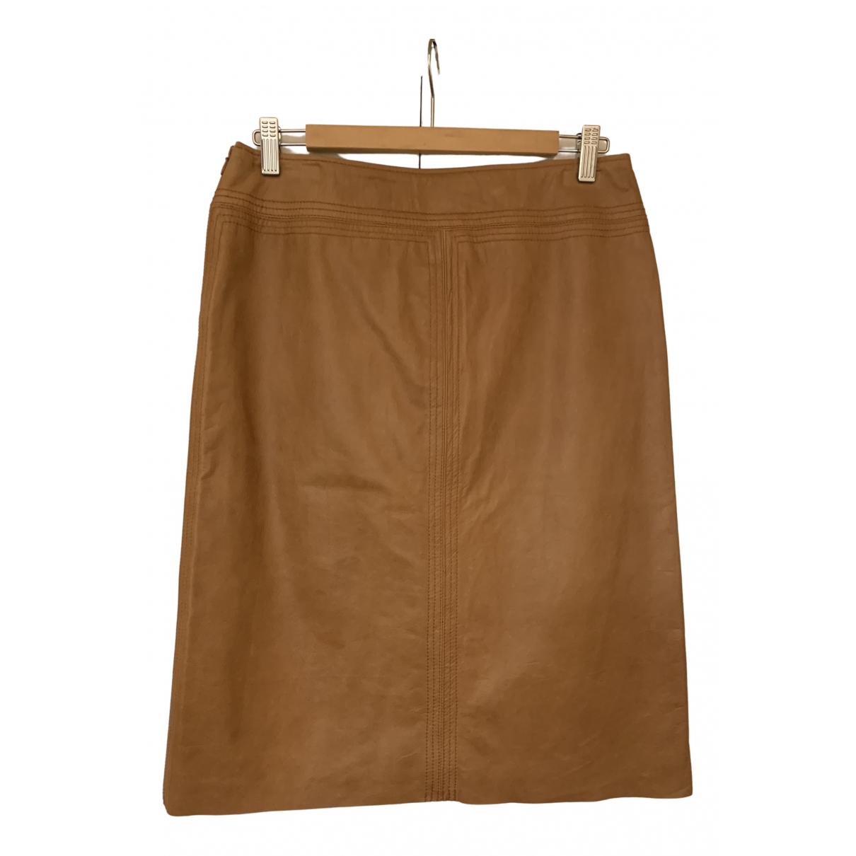 Dkny - Jupe   pour femme en cuir - camel