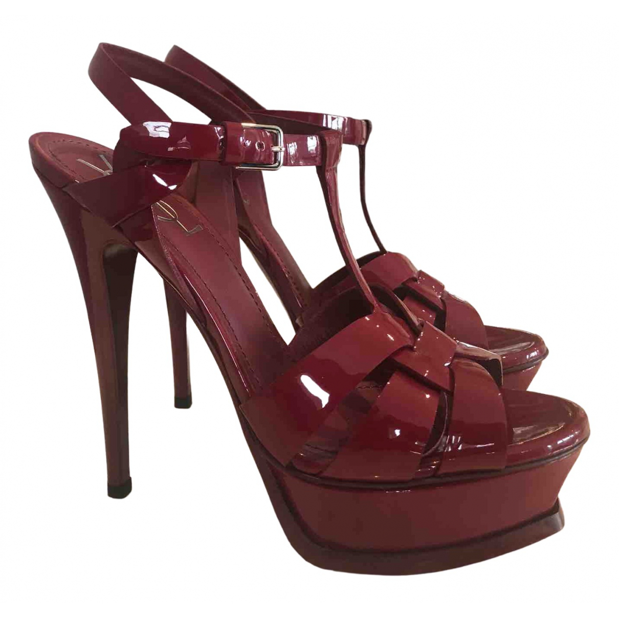Yves Saint Laurent Tribute Red Patent leather Sandals for Women 37.5 EU