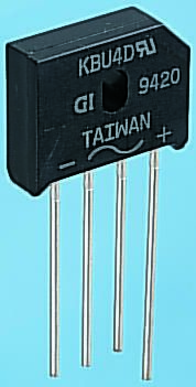 Vishay KBU4G-E4/51, Bridge Rectifier, 4A 400V, 4-Pin KBU
