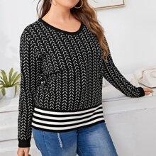 Pullover mit Chevron und Streifen Muster