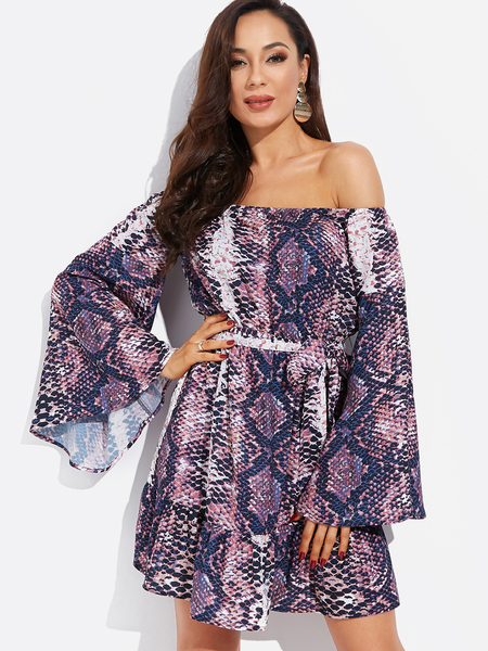 Yoins Purple Snake Off The Shoulder Bell Sleeves Stretch Waistband Mini Dress