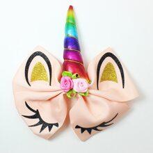 Baby Haarspange mit Schleife & Blumen Dekor