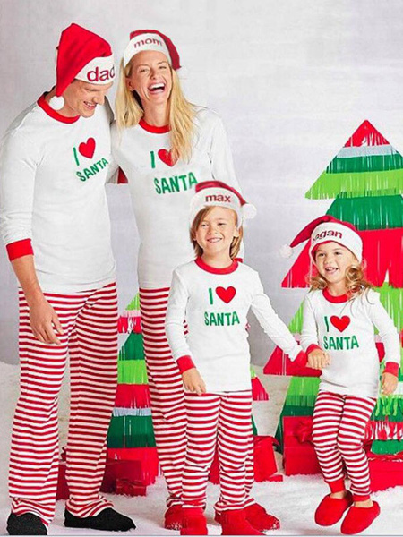 Milanoo Christmas Pajamas Matching Family Father White Striped Pants And Top 2 Piece Set For Men