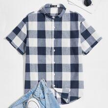 Hemd mit Karo Muster und gebogenem Saum