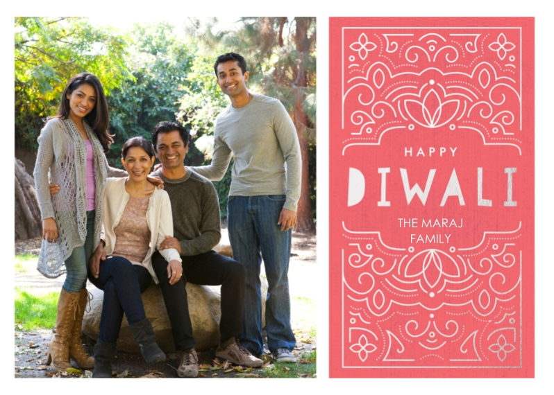 Diwali Cards 5x7 Cards, Premium Cardstock 120lb with Rounded Corners, Card & Stationery -Happy Diwali Ornate Foil
