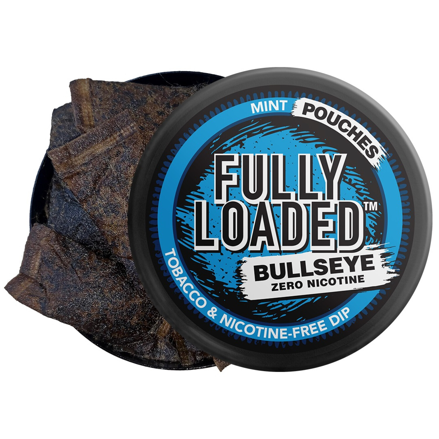Fully Loaded Chew Tobacco and Nicotine Free Mint Bullseye Pouches Bold Flavor, Chewing Alternative