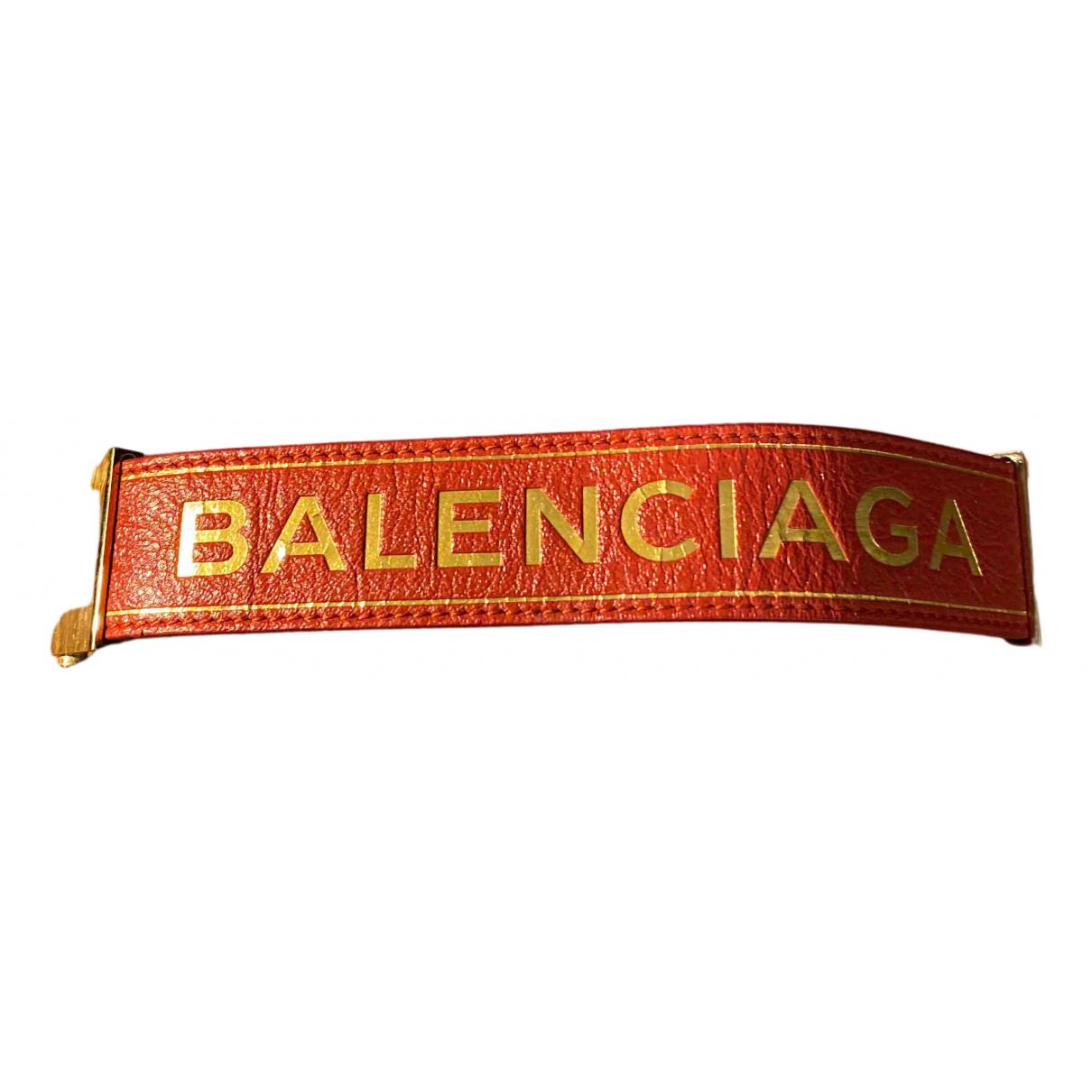 Balenciaga N Red Leather bracelet for Women N