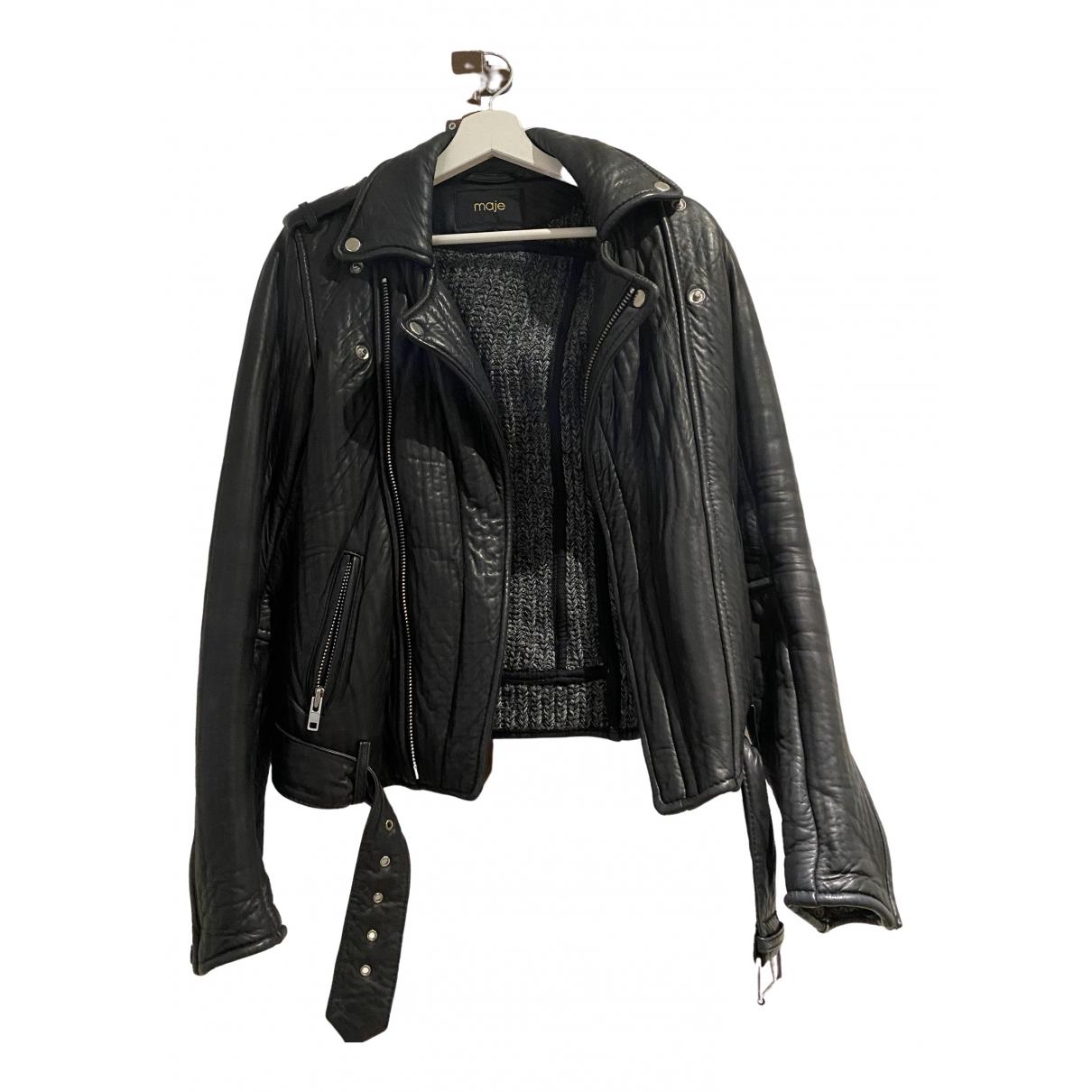 Maje - Blouson   pour femme en cuir - noir