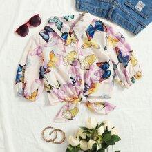 Crop Bluse mit Band vorn und Schmetterling Muster