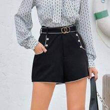 Shorts con cinturon con aro O con boton