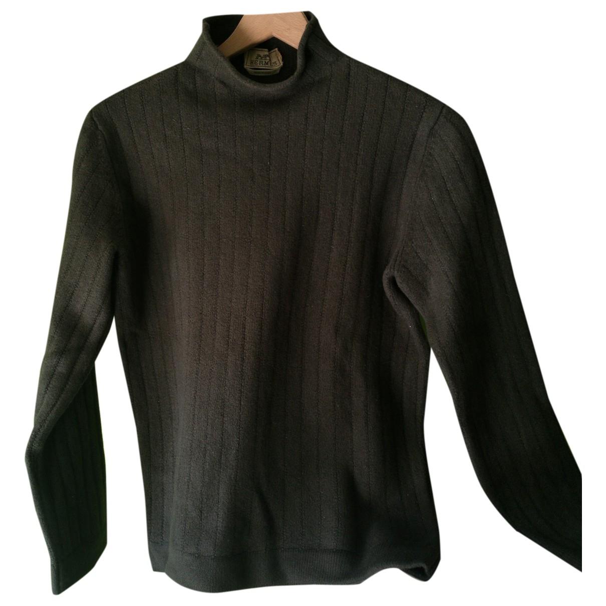 Hermes - Pull   pour femme en laine - kaki
