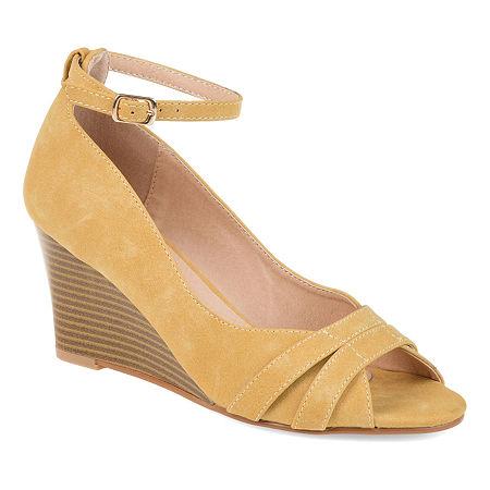 Journee Collection Womens Palmer Pumps Buckle Peep Toe Wedge Heel, 8 Medium, Yellow