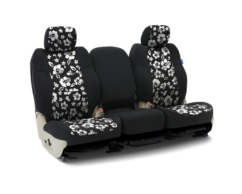 Coverking CSCF9JP7056 Custom Seat Covers 1 Row Neoprene Hawaiian Black | Black Sides Front Jeep Wrangler 1987-1990