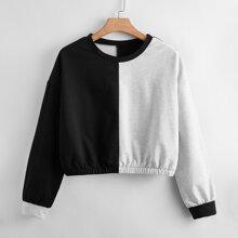 Plus Drop Shoulder Spliced Sweatshirt