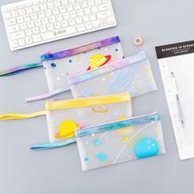 1pc Planet Print Random Pencil Bag