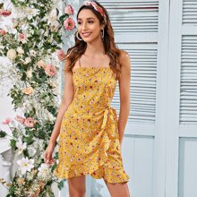 Shirred Back Ruffle Trim Knotted Ditsy Floral Cami Dress